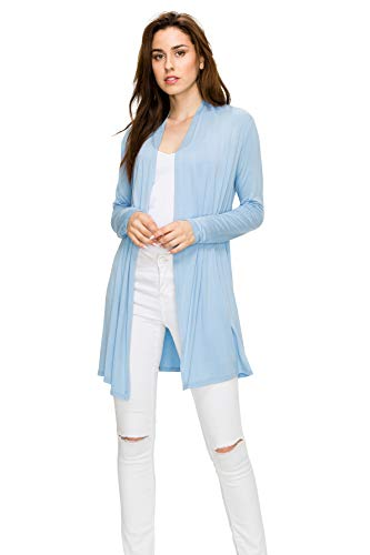 EttelLut Long Open Front Lightweight Cardigan Sweaters Regular and Plus Size Baby Blue M