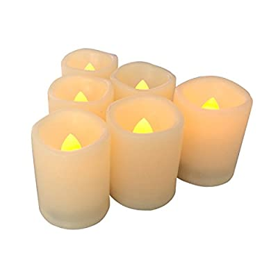 "Candle Choice 6 PCSFlameless Votive Candles with Timer, LED Votives, Battery Operated Votives with Timer, Realistic Flickering, Long Battery Life, 400+ Hour / CR2450 Battery, Size 1.5""(D)x2""(H)"