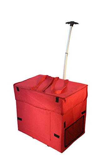 Wide Load Smart Cart, Red Rolling Multipurpose Collapsible Basket Cart Scrapbooking Laundry