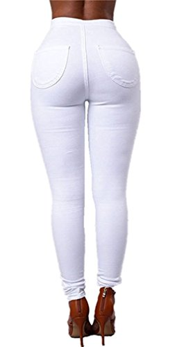 Up Push Jeans Blanc Crayon Femmes Pantalons Jeggings Pantalon Leggings Denim LooBoo Collants Skinny Taille Haute Stretch FPRwxqwv