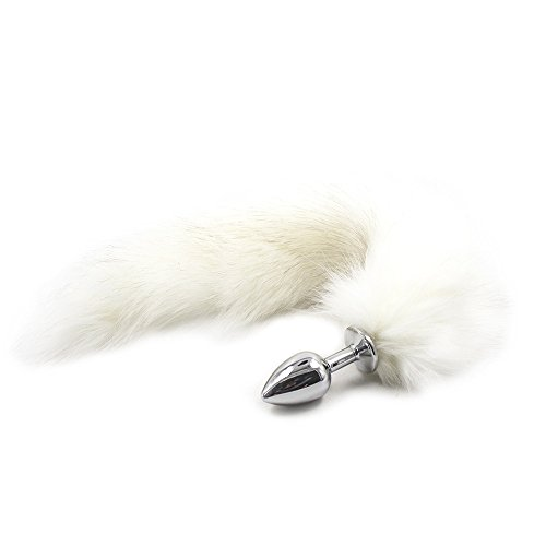 Three Size Faux Fox Tail Metal Butt Plug (Large, White)
