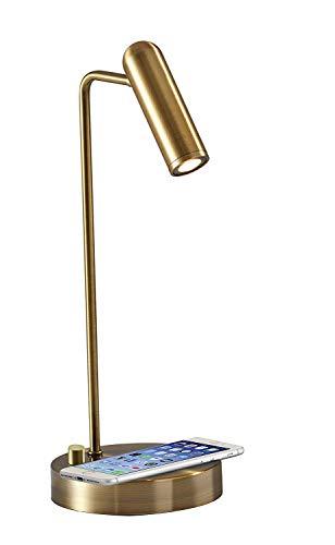 Adesso 3162-21 Kaye LED Desk Lamp WirelessCharging, 7W LED, 5W QI,USB Port, Indoor Lighting Lamps
