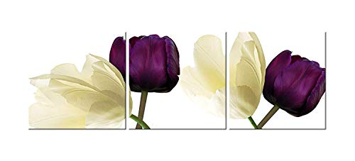 - Canvas Wall Art 3 Panels Purple Yellow Flowers Floral Canvas Print Picture for Kitchen Living Room Home Decorations Framed Ready to Hang