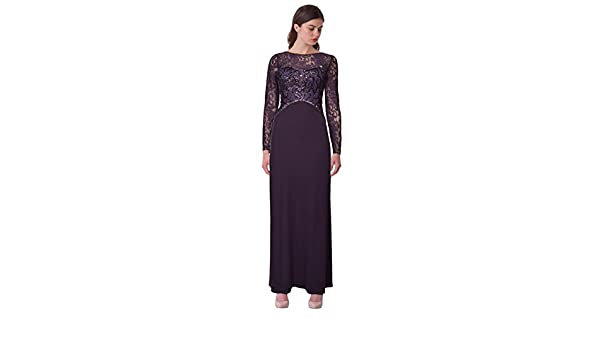 d688abf25b796 Amazon.com: Sue Wong Sequin Embellished Lace Long Sleeve Jersey Evening  Gown Dress Purple: Clothing