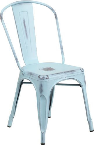 (20 PACK) Industrial Style Antique Dream Blue Metal Restaurant Chairs U2013  Indoor U0026 Outdoor Chair