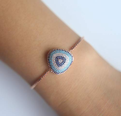 Micro Time-Limited Women Pave Tennis Chain | Fashion Turkish Evil Eye Slider Bracelet ()