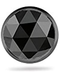 0.23-0.30 Cts AA Round Rose Cut Black Diamond Men's Single Stud Earring in 14K Blackened White Gold
