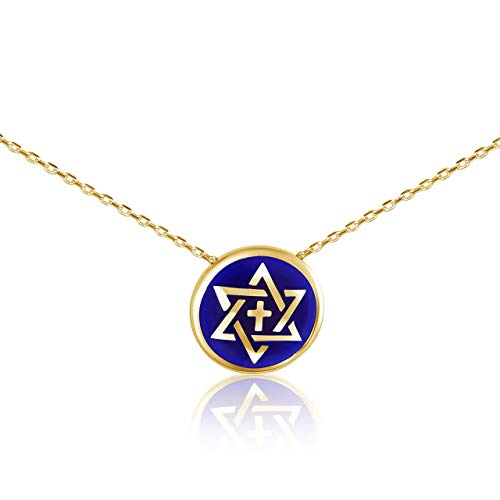 Cross and Star of David Messianic Israeli Blue and Gold Necklace | Alef Bet by ()