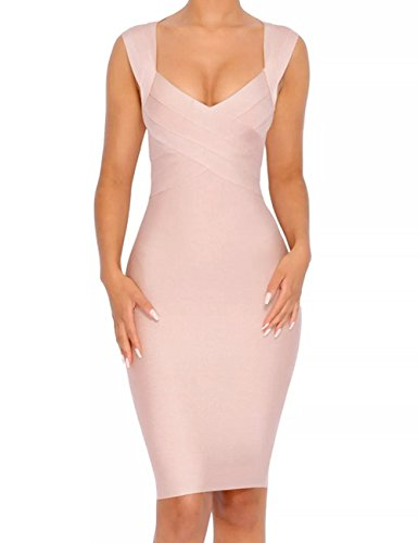 Whoinshop Women's V-Neck Strapless Clubwear Bodycon Bandage Dress (XL, Nude)