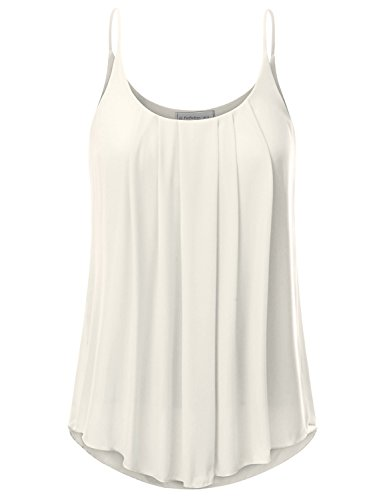 JJ Perfection Women's Pleated Chiffon Layered Cami Tank Top Ivory L by JJ Perfection (Image #5)