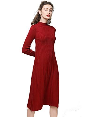 FINCATI Knitted Dress Women Cashmere Blending Soft Elegant Vertical Striped Knee-Length Stocks Clear (S, C-Wine)