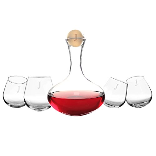 Cathy's Concepts Personalized 5pc Wine Decanter & Tipsy Tasters Set, Letter J by Cathy's Concepts
