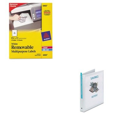 KITAVE05711AVE6465 - Value Kit - Avery Removable Inkjet/Laser ID Labels (AVE6465) and Avery Economy View Binder with Round Rings (AVE05711)