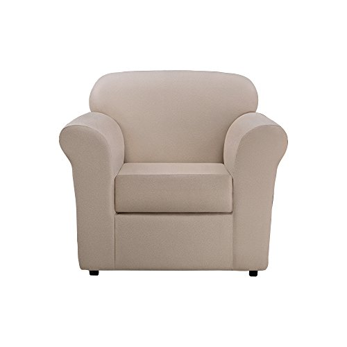 (Sure Fit Ultimate Heavyweight Stretch Leather Separate Seat Chair Slipcovers - Pebbled Ivory (SF46673))