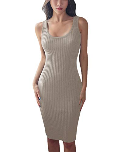 FAIMILORY Cotton Knitted Scoop Neck Stretch Knee Length Bodycon Casual Midi Tank Dress (M, Dark Beige)