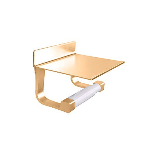 dxS8hhuo Tissue Storage | Toilet Paper Holder Aluminum Wall Mounted Bathroom Tissue Rack Phone Shelf Tool - Golden