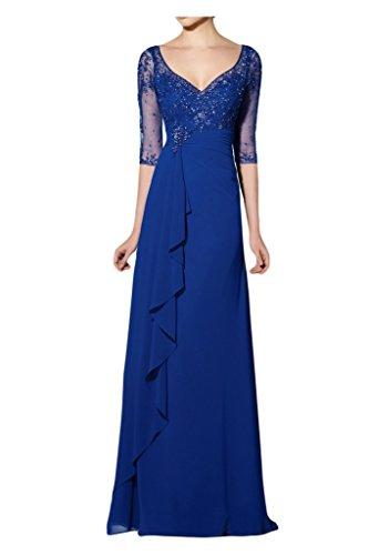Toscana sposa Modern a mezza manica lunga serata vestimento Chiffon tulle madre festa un'ampia ball abiti da sposa blu 44