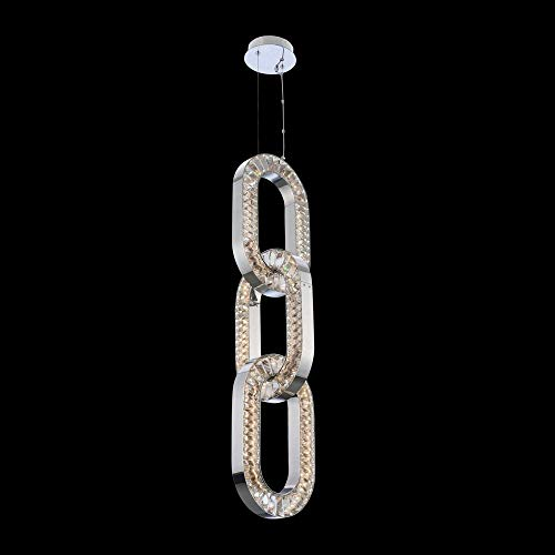 """Kalco 034350-010-FR001 Catena - 60"""" 66W LED Small Foyer, Chrome Finish with Firenze Clear Crystal"""