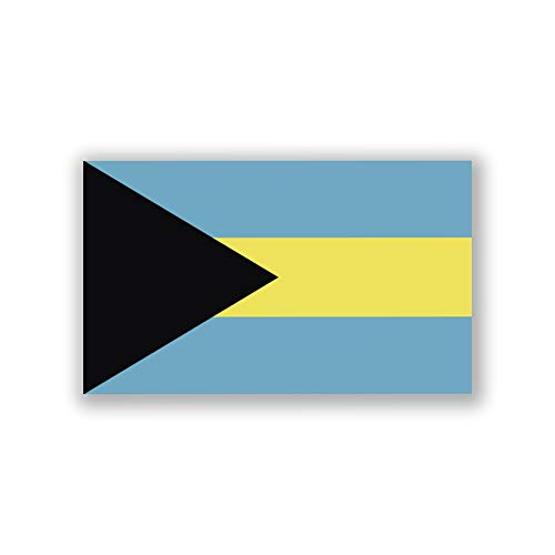 2-Pack Bahamas Flag Decal Sticker | 5-Inches by 3-Inches | Premium Quality Vinyl | PD380