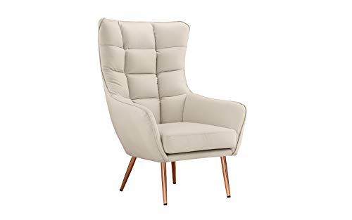 Chair Bedroom Leather (Modern Living Room Bonded Leather Tufted Armchair Gold Color Legs (Off White))