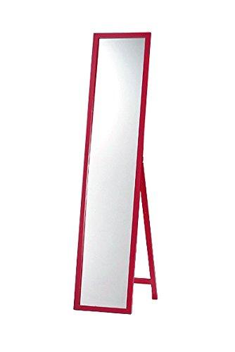 天然パイン材 木製スタンドミラー レッド(赤) 幅33cmx高さ150cm 全身 飛散防止 B006HQBJL0 レッド レッド