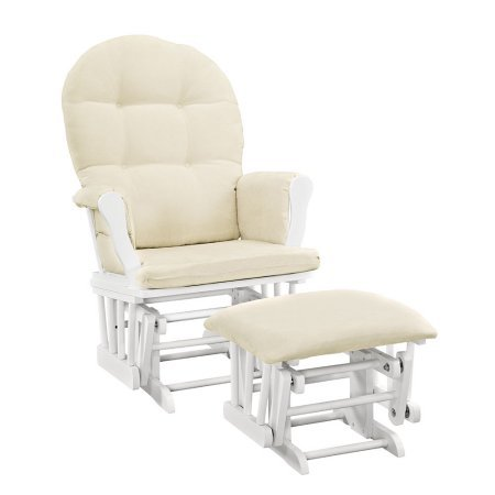 Angel Line Windsor Glider and Ottoman White Finish and Beige Cushions + Handi Wipes ()