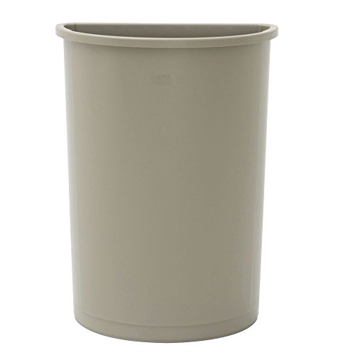 Rubbermaid 21 gal Beige Plastic Half Round Untouchable Trash Receptacle - 21