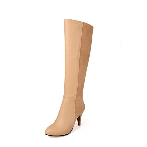 apricot Bottom Color Imitated Matching Zipper Womens Heel Thick Boots BalaMasa Leather wIH5vq1