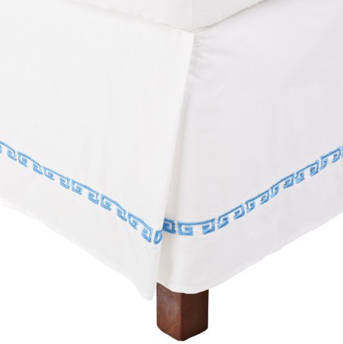 100% Cotton Greek Key Embroidery, 15 Inch Drop, King Pleated Kendell Bed skirt, White/ Light Blue (Spring Embroidered Skirt)