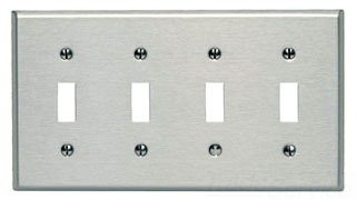 Leviton 84012-40 4-Gang Toggle Device Switch Wallplate, Standard Size, Device Mount, Stainless Steel, 10-Pack