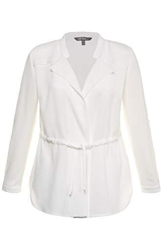 Ulla Popken Women's Plus Size Drawstring Waist Blouse Jacket Off White 28/30 715096 21