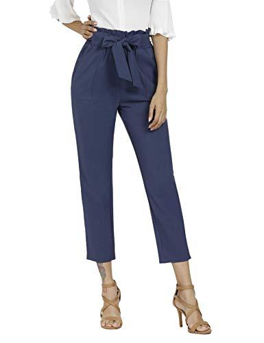 JAYHouse Womens Pants Casual High Waist Trouser Cropped Paper Bag Waist Pants with Pockets (Blue,XXL)