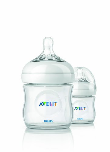 Philips AVENT BPA Free Natural Polypropylene Bottle, 4 Ounce, 2 Pack by Philips AVENT
