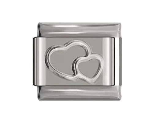Love DOUBLE HEARTS Daisy CHARM Fits Nomination Classic Size Italian Charms