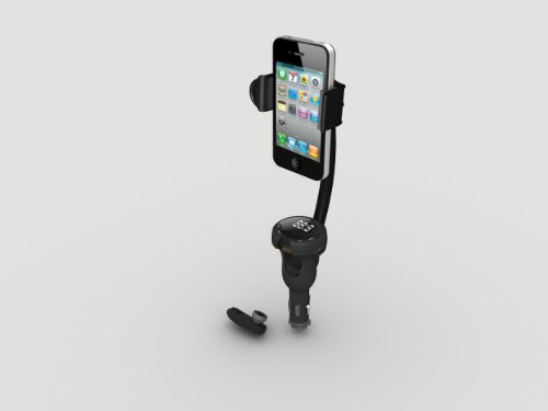 PUREX Technology all-in-one: FM-Transmitter, charger, wireless headset, car-mount for all smartphone models - DLX-37