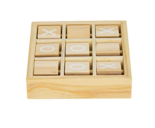 (Home-X Classic Tic Tac Toe Wooden Travel Tabletop Family Board Game)