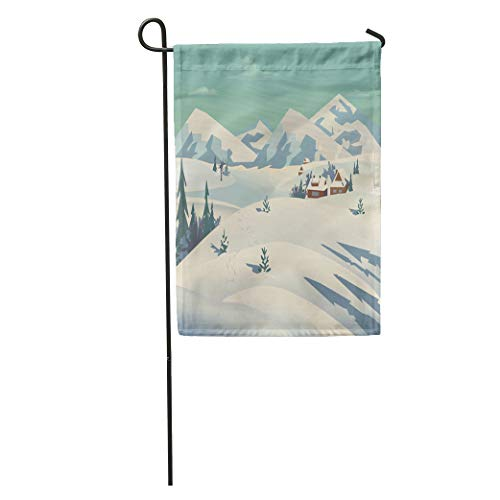 Semtomn Garden Flag Winter Nature Landscape Mountain River in Snowy Glacier Valley Houses Home Yard House Decor Barnner Outdoor Stand 12x18 Inches Flag
