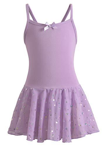 DANSHOW Ballet Leotards for Girls Dance Camisole Dress with Shiny Tutu Skirt(4-6years,Purple)
