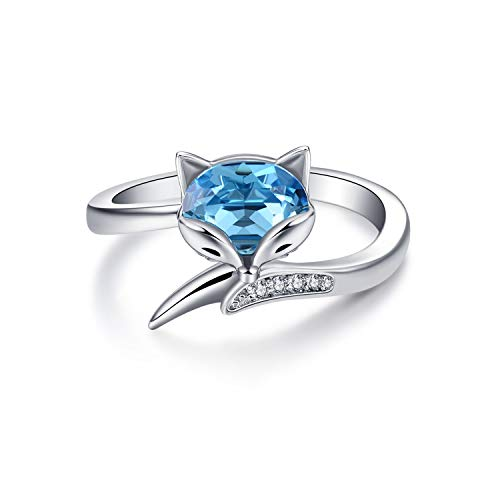 AOBOCO 925 Sterling Silver Fox Rings with Created Blue Aquamarine Swarovski Crystals Aminal Wrap Open Adjustable Rings Jewelry Gifts for Women Teen Girls
