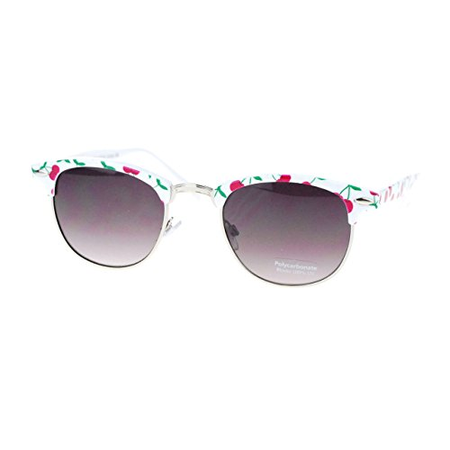 Womens Cutie Fruit Print Clubmaster Sunglasses - Strawberry Sunglasses