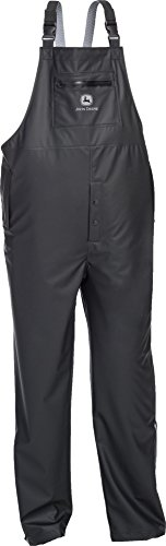 Shirt Pants Bib (West Chester John Deere JD44540B Premium Waterproof Industrial Stretch Rain Bib: Black, XX-Large)