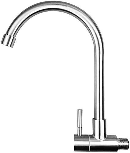 キッチン蛇口 台所用水栓 蛇口 で壁シングルコールドキッチンのシンクの蛇口、キッチンバスルームに適し浴室の洗面台の蛇口、304ステンレス鋼、