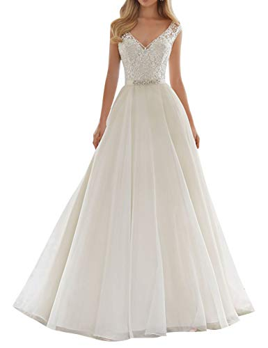 Wedding Dress Bride Dresses with Crystal Belt Sash Lace Wedding Gown A line V Neck White