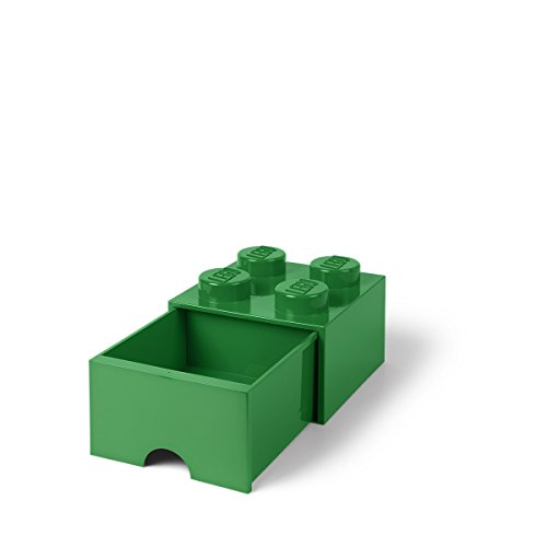 LEGO Brick Drawer, 4 Knobs, 1 Drawer, Stackable Storage Box, Dark Green