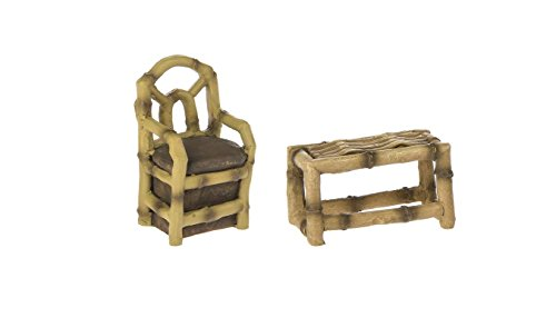 DCC Bundle of 2 Mini Fairy Garden Furniture Set - Bamboo Table & Chair 2