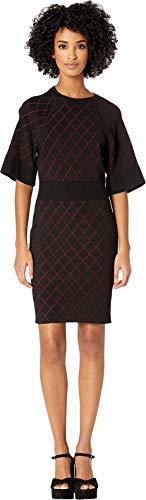 Nicole Miller Women's Diamond Knit Dress Black/Red Petite