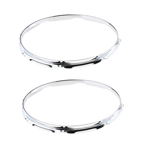 Flameer 2pcs 14 Inch Snare Drum Plating Hoop Ring Die Cast for Jazz Drum Set Kit Parts - Silver, 8 Hole