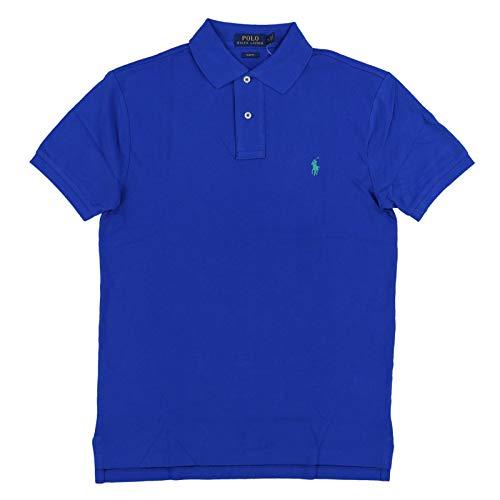 Polo Ralph Lauren Mens Slim Fit Mesh Polo Shirt (L, Blue)