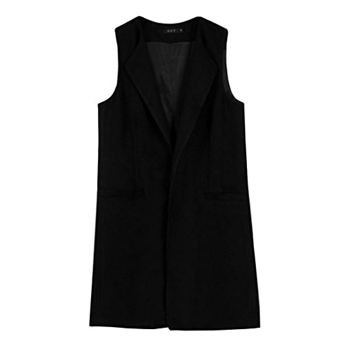 Vest Waistcoat Parka Womens Outwear Ulster FNKDOR Concert Clearance Gilet Party Formal Sleeveless Cardigan Office Solid Black Autumn Coat Jacket 6vqEwBz