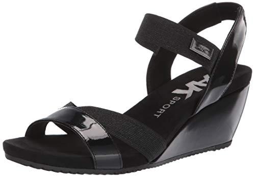 Anne Klein Women's Clovis Wedge Sandal, Black Patent, 9 M US